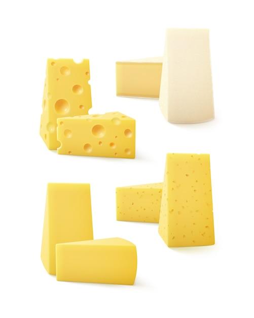 Set di pezzi triangolari di vari tipi di formaggio swiss bri camembert close up isolati su sfondo bianco Vettore Premium