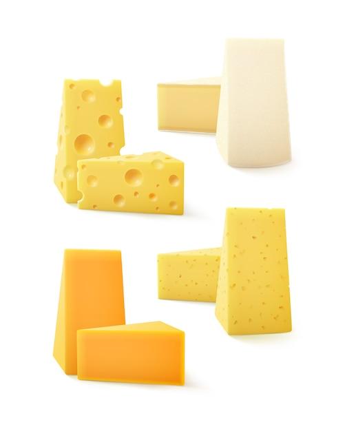 Set di pezzi triangolari di vari tipi di formaggio cheddar svizzero bri camembert close up isolati su sfondo bianco Vettore Premium