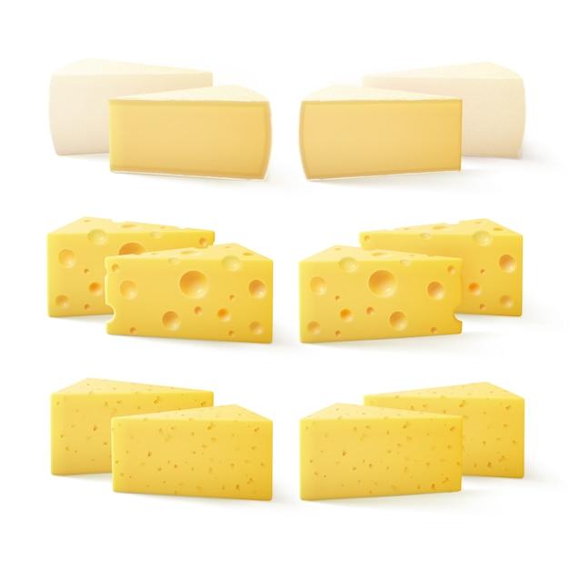 Set di pezzi triangolari di vari tipi di formaggio Vettore Premium