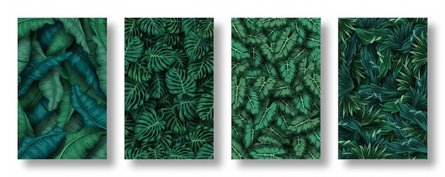 Set di sfondo di foglie tropicali Vettore Premium