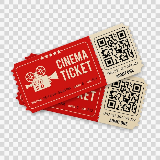 Set di due biglietti per il cinema cinema con fotocamera Vettore Premium