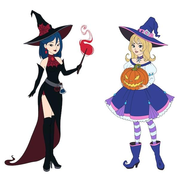 Set di due streghe che tengono la zucca di halloween e la bacchetta magica. Vettore Premium