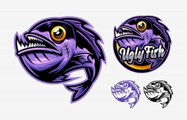 Set di brutto pesce logo mascotte Vettore Premium