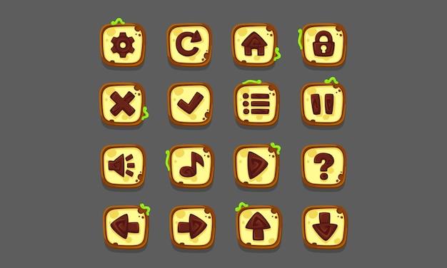 Set di elementi dell'interfaccia utente per giochi e app 2d, ui di gioco parte 1 Vettore Premium