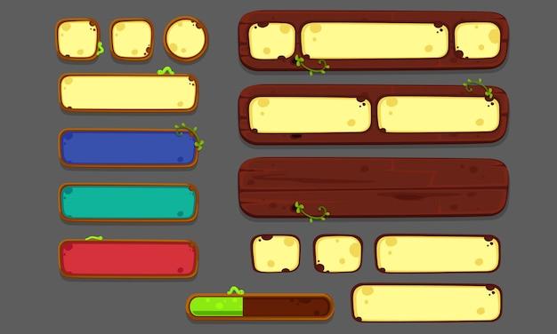 Set di elementi dell'interfaccia utente per giochi e app 2d, ui di gioco parte 2 Vettore Premium