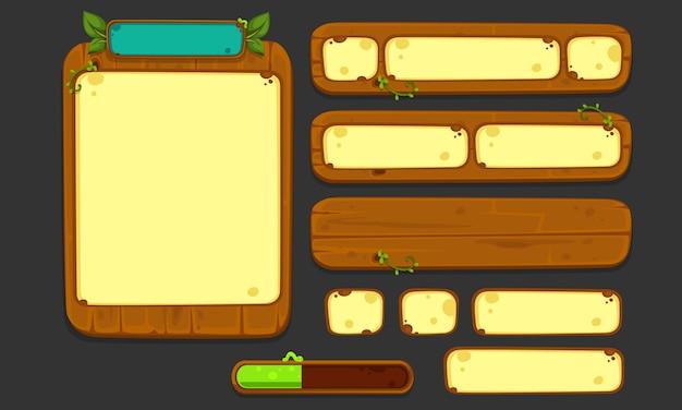 Set di elementi dell'interfaccia utente per giochi e app 2d, interfaccia utente gioco jungle parte 2 Vettore Premium