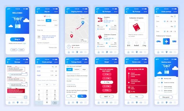 Set di interfacce ui, ux, gui app di consegna piatta Vettore Premium