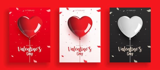 Set di san valentino, palloncini con corda e coriandoli. Vettore Premium