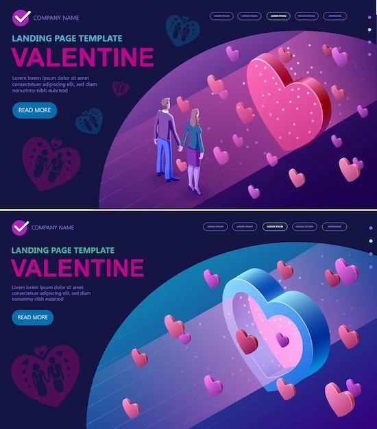 Impostare il concetto isometrico di san valentino Vettore Premium