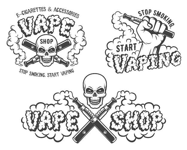 Set di vape, emblemi di sigaretta elettronica Vettore Premium