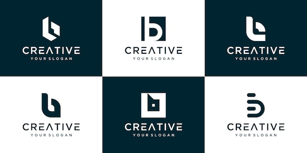 Insieme di vari design del modello di logo b. Vettore Premium