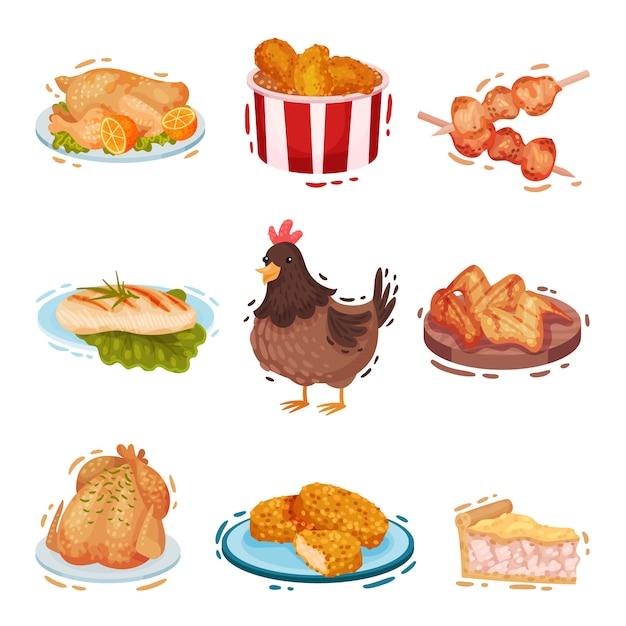 Insieme di vari piatti di pollo Vettore Premium