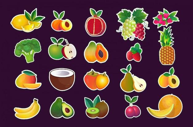 Impostare orizzontale di concetto di cibo naturale sano vari raccolta fresca frutta succosa Vettore Premium