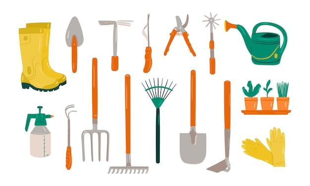 Insieme di vari articoli da giardinaggio Vettore Premium