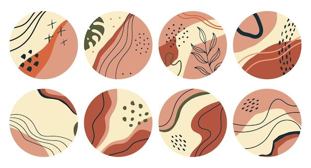 Insieme di varie forme geometriche con foglie evidenziano copertine Vettore Premium