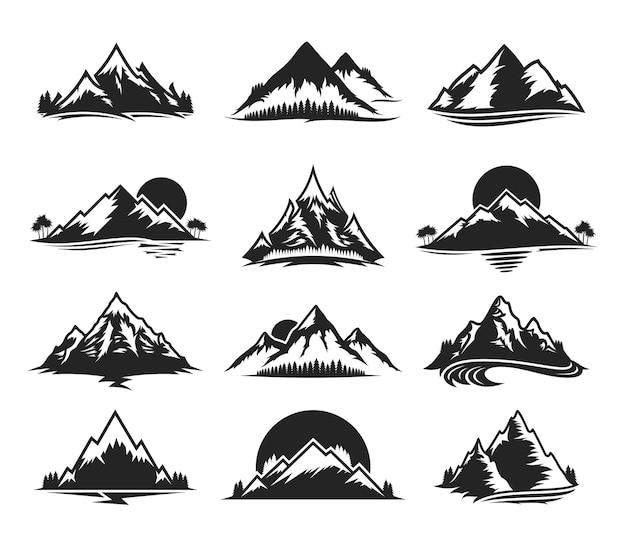 Insieme di varie icone monocromatiche di montagna Vettore Premium