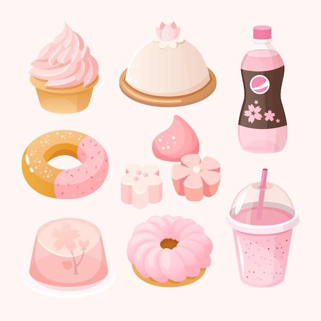 Insieme di vari dolci e dessert colorati rosa pastello. cibo a tema stagione sakura. Vettore Premium