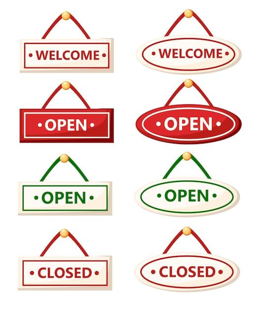 Insieme di vari segni. segni aperti e chiusi. . illustrazione su sfondo bianco. pagina del sito web e app per dispositivi mobili. Vettore Premium