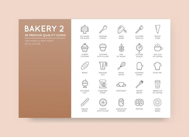 L'insieme degli elementi della pasticceria del forno di vettore e dell'illustrazione delle icone del pane può essere usato come logo o icona nella qualità premio Vettore Premium