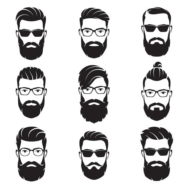 Set di hipsters volti uomini barbuti di vettore Vettore Premium