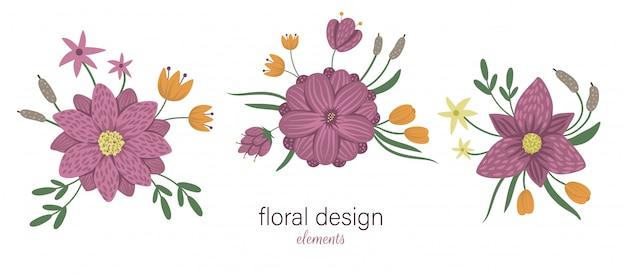 Insieme degli elementi decorativi orizzontali floreali di vettore. illustrazione alla moda piatta con fiori, foglie, rami, canne, ninfee. palude, bosco, raccolta di clip art forestali Vettore Premium