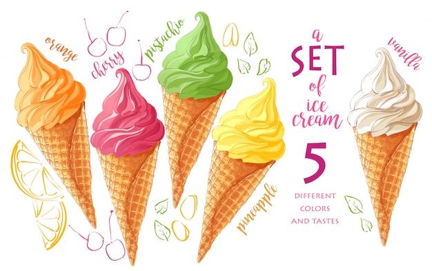 Set di gelato di vettore Vettore Premium