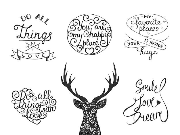 Set di lettering inspirational romantico di vettore Vettore Premium