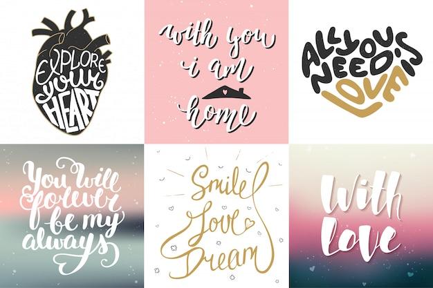 Set di poster romantico lettering vettoriale Vettore Premium