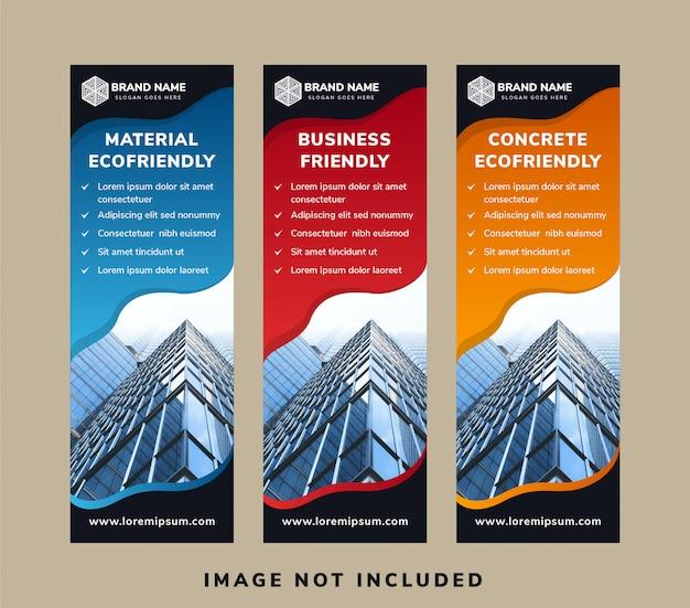 Set di layout banner verticale per la progettazione della copertina di promozione dei social media. Vettore Premium