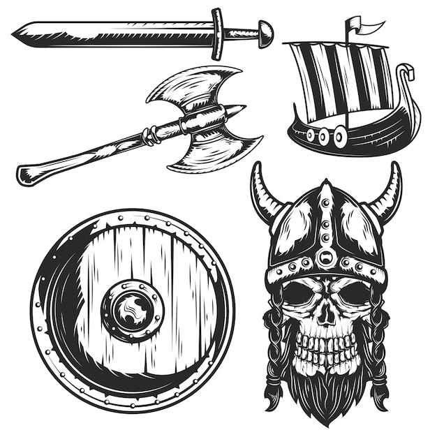 Set di elementi vichinghi per creare badge, loghi, etichette, poster, ecc Vettore Premium