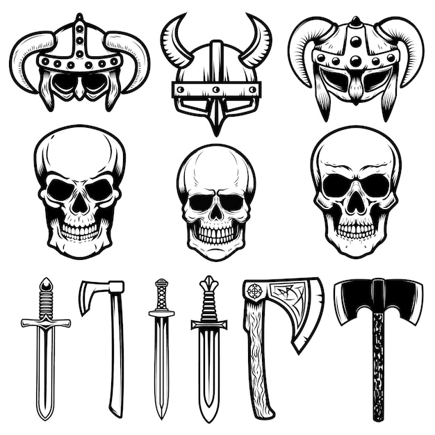 Set di elmi vichinghi, arma, teschi. elementi per logo, etichetta, emblema, segno. illustrazione Vettore Premium