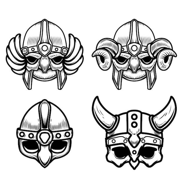 Set di caschi vichinghi su sfondo bianco. elemento per logo, etichetta, segno. immagine Vettore Premium