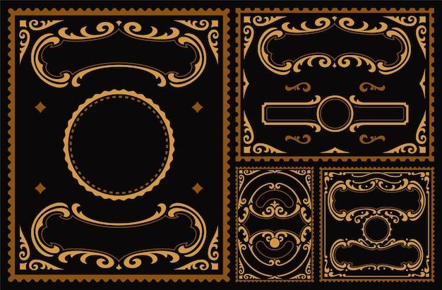 Una serie di bordi vintage su sfondo scuro Vettore Premium