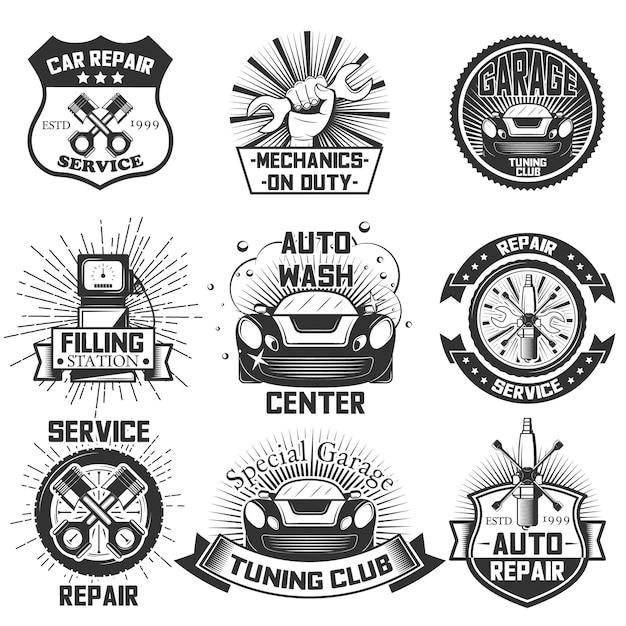 Set di loghi di servizio auto d'epoca, emblemi, distintivi, simboli, icone isolati su priorità bassa bianca. design tipografico per riparazione auto, attività di autolavaggio e stampa. Vettore Premium