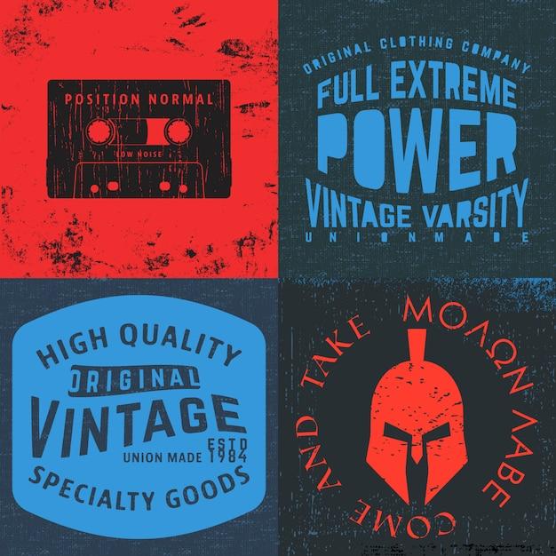 Set di stampa di design vintage per timbro t-shirt, applique per maglietta, tipografia di moda, badge, abbigliamento per etichette, jeans e abbigliamento casual. illustrazione vettoriale Vettore Premium
