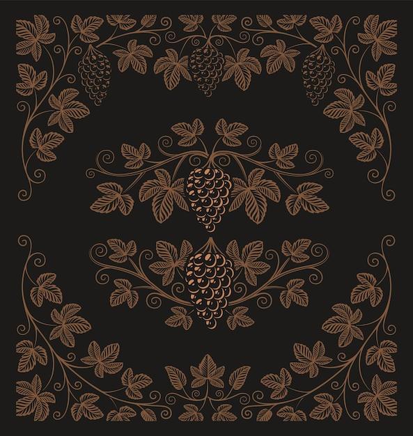 Set di elementi vintage di rami d'uva e bordi per la decorazione o il marchio di alcol sullo sfondo scuro. Vettore Premium
