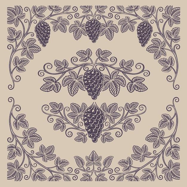 Set di elementi vintage di rami d'uva e bordi per la decorazione o il marchio di alcol sullo sfondo chiaro. Vettore Premium