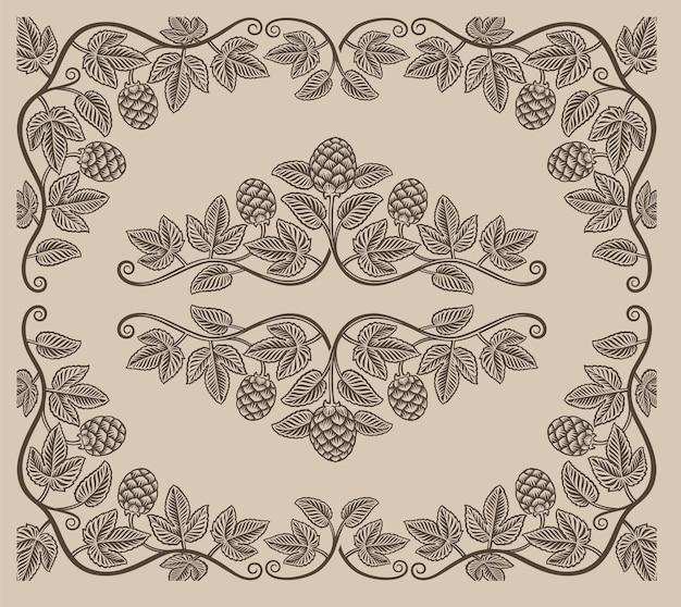 Set di elementi vintage di rami di luppolo e bordi per la decorazione o il marchio di alcol su sfondo bianco. Vettore Premium