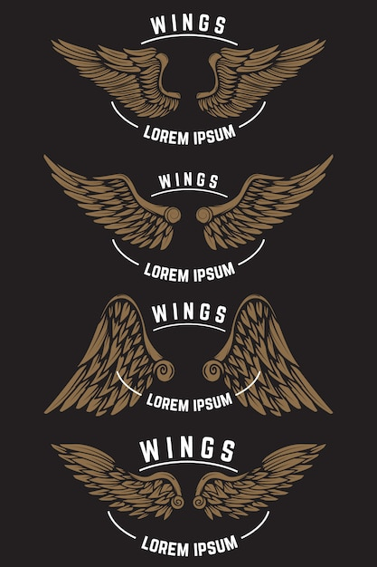 Set di modelli di emblema vintage con le ali. elementi per logo, etichetta, emblema, poster. illustrazione Vettore Premium