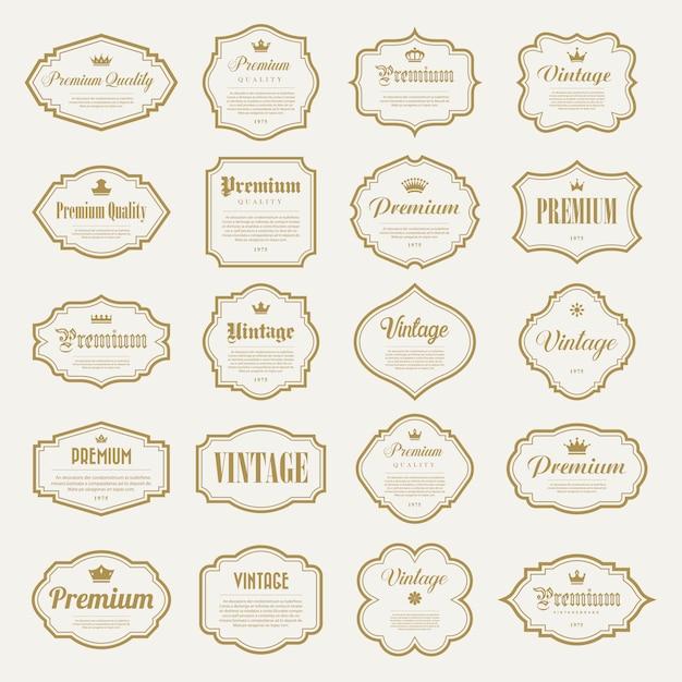 Set di cornice oro vintage Vettore Premium