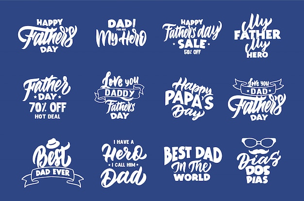 Set di frasi vintage felice festa del papà. emblemi, distintivi, modelli, adesivi Vettore Premium