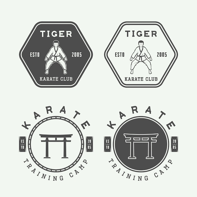 Set di vintage karate o arti marziali logo, emblema, distintivo, etichetta ed elementi di design. illustrazione vettoriale Vettore Premium