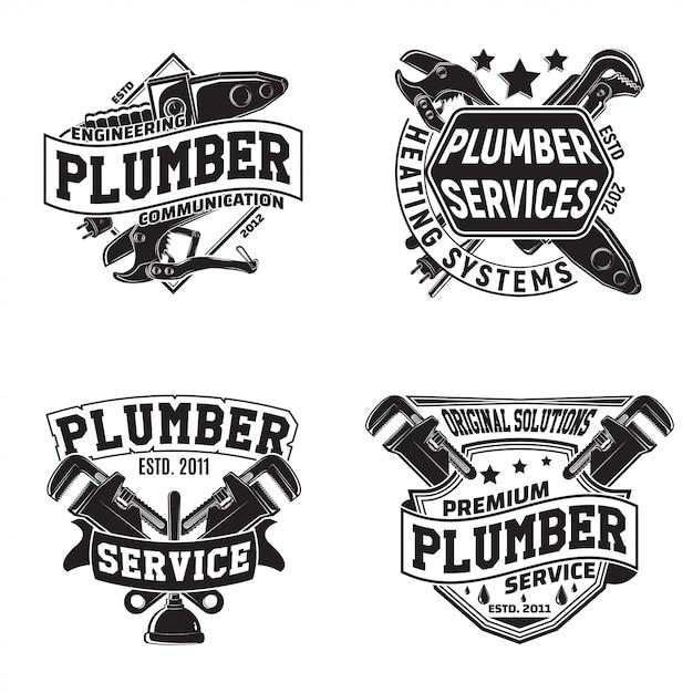 Set di disegni grafici logo vintage, francobolli stampati, emblemi di tipografia idraulici, design creativo, Vettore Premium