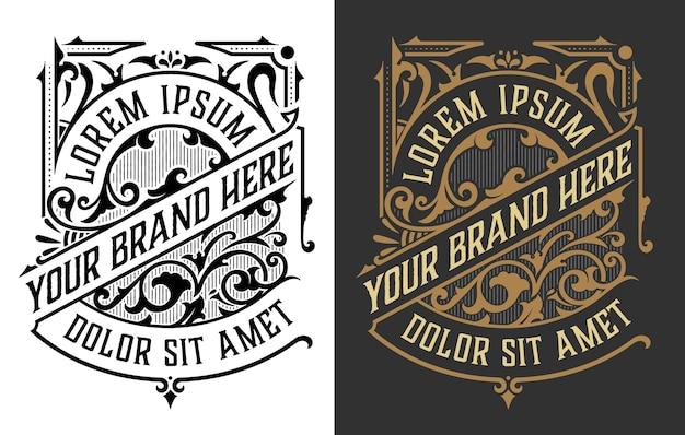 Set di logo di lusso vintage Vettore Premium
