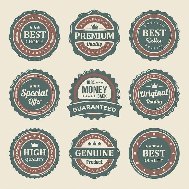 Set di etichette di prodotti di qualità premium sigillo vintage Vettore Premium