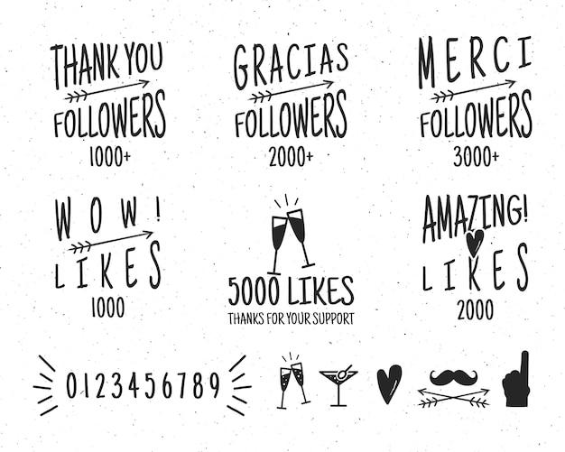 Set di badge di ringraziamento vintage. social media seguaci etichette e mi piace adesivi. vettore isolato Vettore Premium