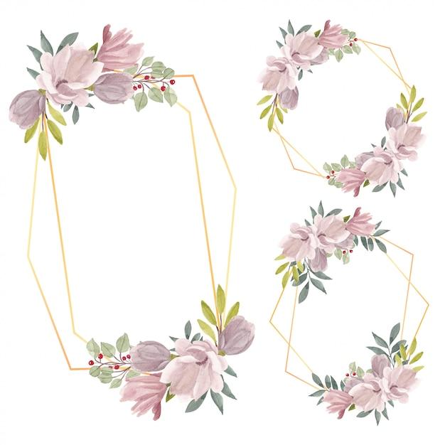 Insieme del bordo della struttura del fiore della magnolia dell'acquerello Vettore Premium