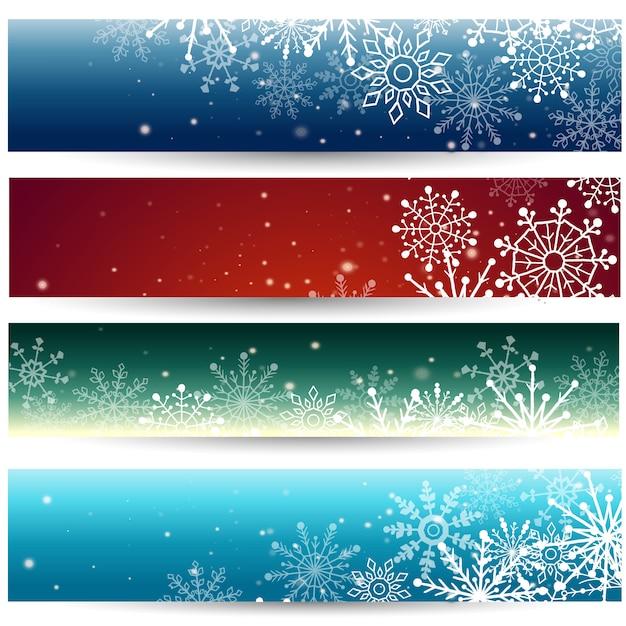 Set di banner web con fiocchi di neve. illustrazione Vettore Premium