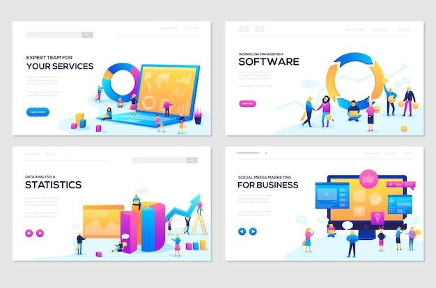 Set di modelli di pagine web. sito web di banner e sviluppo di siti web per dispositivi mobili Vettore Premium