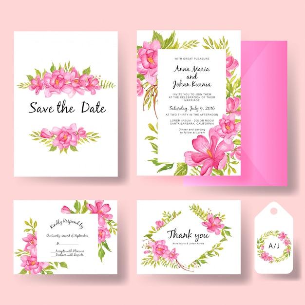 Set di invito a nozze fiore dell'acquerello magnolia rosa e foglia di verde Vettore Premium